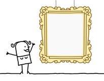 Женщина шаржа наблюдая пустую рамку Стоковое фото RF