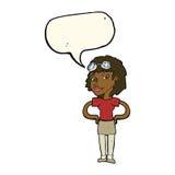 женщина шаржа ретро пилотная с пузырем речи Стоковая Фотография RF