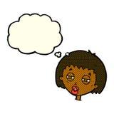 женщина шаржа суживая глаза с пузырем мысли Стоковое Изображение