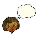 женщина шаржа суживая глаза с пузырем мысли Стоковая Фотография RF