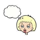 женщина шаржа суживая глаза с пузырем мысли Стоковое фото RF
