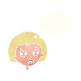 женщина шаржа суживая глаза с пузырем мысли Стоковые Фотографии RF