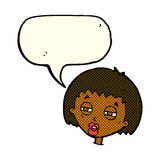женщина шаржа суживая глаза с пузырем речи Стоковое Изображение