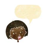 женщина шаржа суживая глаза с пузырем речи Стоковое Фото
