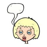 женщина шаржа суживая глаза с пузырем речи Стоковые Изображения RF