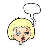 женщина шаржа суживая глаза с пузырем речи Стоковое фото RF