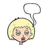 женщина шаржа суживая глаза с пузырем речи Стоковые Фото