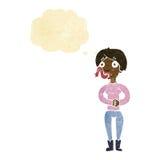 женщина шаржа с языком змейки с пузырем мысли Стоковое Фото