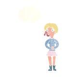 женщина шаржа с языком змейки с пузырем мысли Стоковые Изображения RF