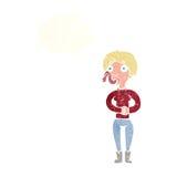 женщина шаржа с языком змейки с пузырем мысли Стоковое фото RF