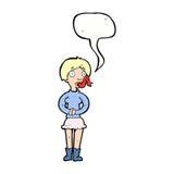 женщина шаржа с языком змейки с пузырем речи Стоковое фото RF
