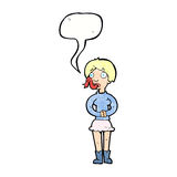женщина шаржа с языком змейки с пузырем речи Стоковое Фото