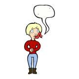 женщина шаржа с языком змейки с пузырем речи Стоковая Фотография RF