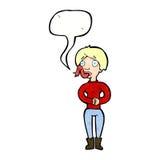 женщина шаржа с языком змейки с пузырем речи Стоковые Фото