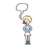 женщина шаржа с языком змейки с пузырем речи Стоковые Фотографии RF