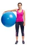Женщина шарика спортзала Стоковая Фотография