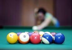 женщина шариков предпосылки запачканная биллиардом Стоковые Изображения
