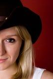 женщина шлема ковбоя западная Стоковое Изображение RF