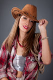 женщина шлема ковбоя Стоковые Изображения RF