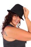 женщина шлема милая стоковое фото