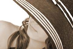 женщина шлема нося Стоковые Фото