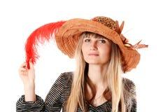женщина шлема пера Стоковое Изображение
