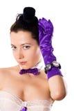 женщина шлема перчаток корсета маленькая Стоковая Фотография