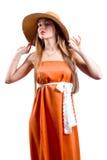 женщина шлема платья длинняя Стоковое Изображение