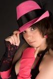 женщина шлема розовая представляя Стоковые Фотографии RF
