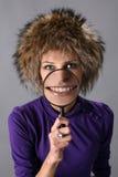 женщина шлема шерсти Стоковая Фотография