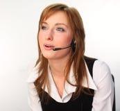 женщина шлемофона говоря Стоковые Фото