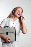 женщина шлемофона дела Стоковые Фотографии RF