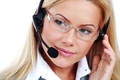 женщина шлемофона звонока Стоковые Фотографии RF