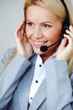 женщина шлемофона звонока Стоковое Фото