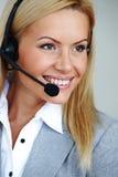 женщина шлемофона звонока Стоковая Фотография RF