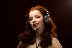 женщина шлемофона Стоковые Фотографии RF