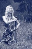 женщина шпаги katana стоковое фото
