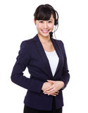 Женщина шлемофона телемаркетинга Стоковые Изображения RF