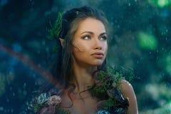 Женщина эльфа в лесе Стоковое фото RF