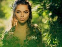 Женщина эльфа в лесе Стоковые Фотографии RF