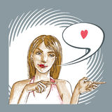 Женщина любит вас Стоковое Изображение