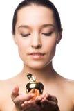 женщина яблока золотистая Стоковые Изображения RF