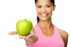 женщина яблока счастливая Стоковое фото RF