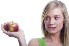 женщина яблока Стоковые Изображения