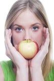 женщина яблока Стоковая Фотография