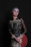 женщина язычка вентилятора Стоковые Фотографии RF