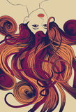 женщина детального flowin длинняя s стороны Стоковые Фото