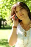женщина 14 телефонов Стоковые Изображения