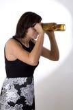 женщина 5 изумлённых взглядов пива Стоковое фото RF