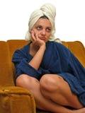 женщина 7 полотенец стоковое фото rf